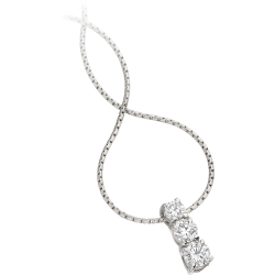 A timeless three stone diamond necklace in 18ct white gold