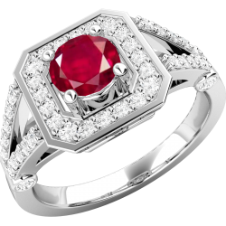 A stunning ruby & diamond cluster ring in 18ct white gold