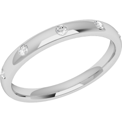 An elegant diamond set courted ladies wedding ring in 9ct white gold