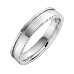 An eye catching ladies mixed finish wedding ring in 9ct white gold