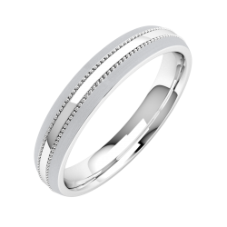 A striking mill-grained ladies wedding ring in medium 9ct white gold
