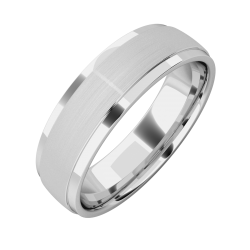 A stylish mixed finish mens wedding ring in platinum