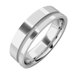 A classic grooved mens ring in platinum