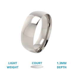 A classic courted mens ring in light platinum