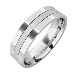 A classic mixed finish mens ring in 18ct white gold