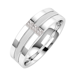 Image of A stunning Princess Cut diamond set mens wedding ring in palladium (In stock)