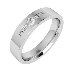 An eye catching Baguette & Round Brilliant Cut diamond set mens ring in platinum