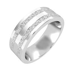 A stunning double row diamond set mens ring in palladium