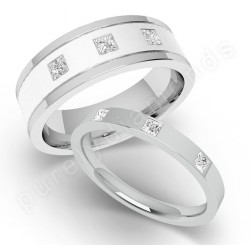 Spotlight on His Hers Wedding Rings18ct White Gold Diamond