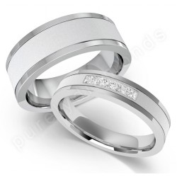 spotlight on his hers wedding rings two tone gold diamond - His Hers Wedding Rings