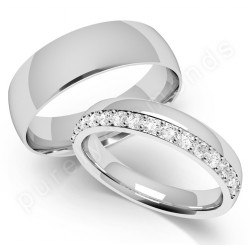 Spotlight on His Hers Wedding Rings 18ct White Gold Diamond