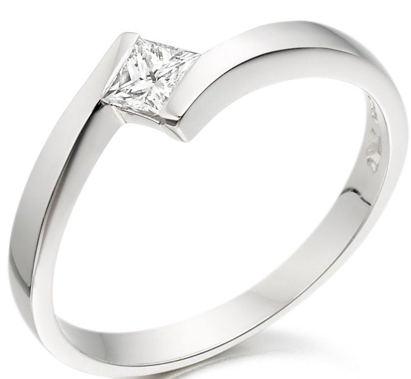 Purely Diamonds square-shaped diamond engagement ring set in platinum.
