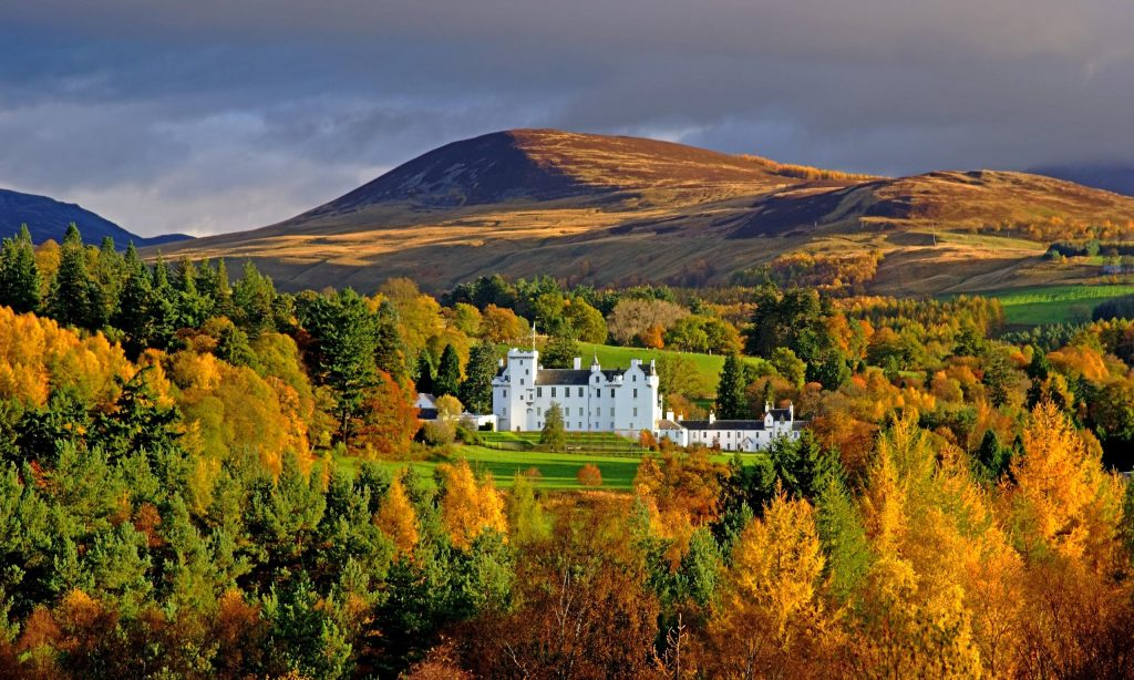 blair castle and the grampian mountains