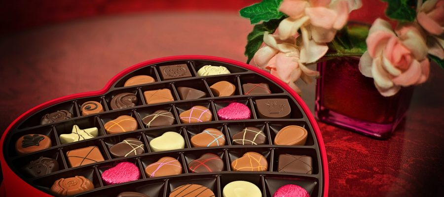 A box of chocolates and flowers for Valentines Day