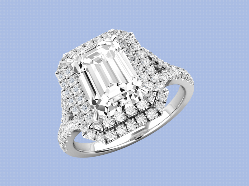 An engagement ring with large diamonds