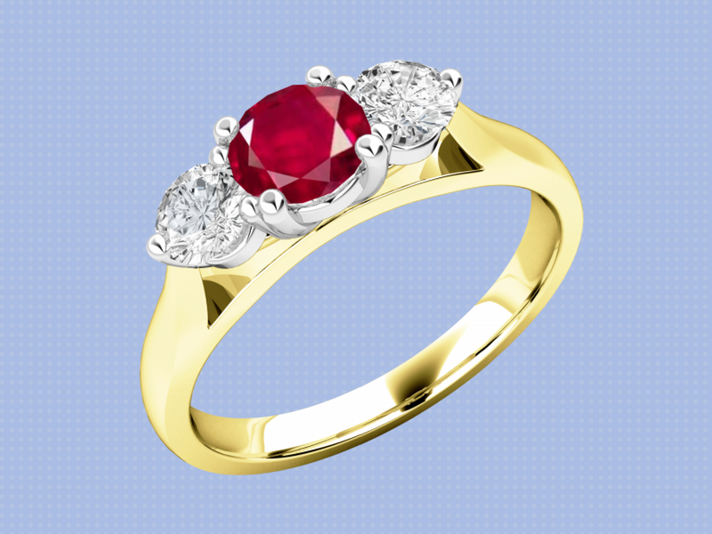 A red and gold ring