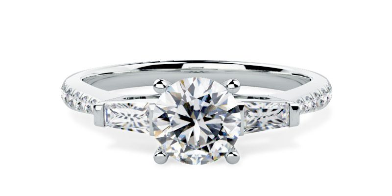 Round Diamond and Baguette Engagement Ring