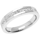 A sleek Princess Cut diamond eternity ring in 18ct white gold