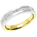 A sleek Princess Cut diamond eternity ring in 18ct yellow & white gold