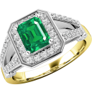 A gorgeous emerald & diamond cluster style ring in 18ct yellow & white gold