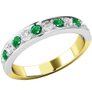 A stunning emerald & diamond eternity ring in 18ct yellow & white gold (In stock)