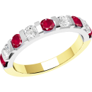 A stylish Round Brilliant Cut ruby & diamond eternity ring in 18ct yellow & white gold