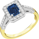 A stylish sapphire & diamond cluster ring in 18ct yellow & white gold