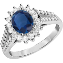 An elegant sapphire & diamond cluster style ring in 18ct white gold