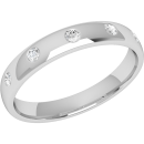 A stylish diamond set courted ladies wedding ring in 18ct white gold