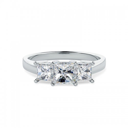 A breathtaking Princess Cut three stone diamond ring in platinum