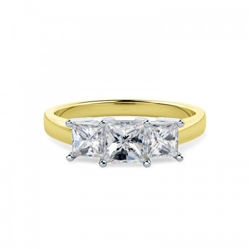 A breathtaking Princess Cut three stone diamond ring in 18ct yellow & white gold