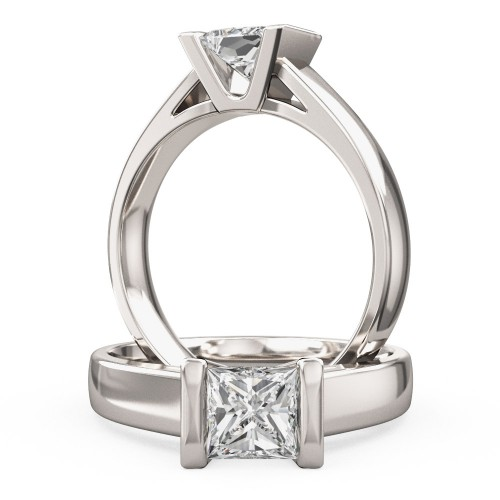 A beautiful Princess Cut solitaire diamond ring in platinum