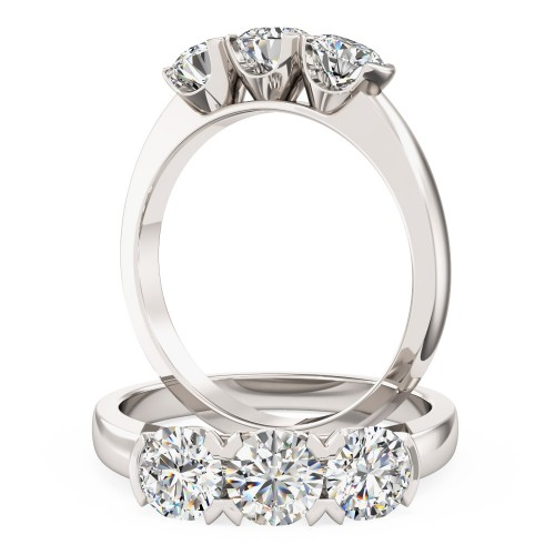 An eye catching Round Brilliant Cut three stone diamond ring in platinum
