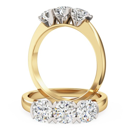An eye catching Round Brilliant Cut three stone diamond ring in 18ct yellow & white gold