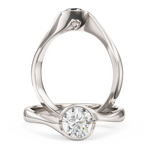 A unique Round Brilliant Cut solitaire diamond ring in 9ct white gold