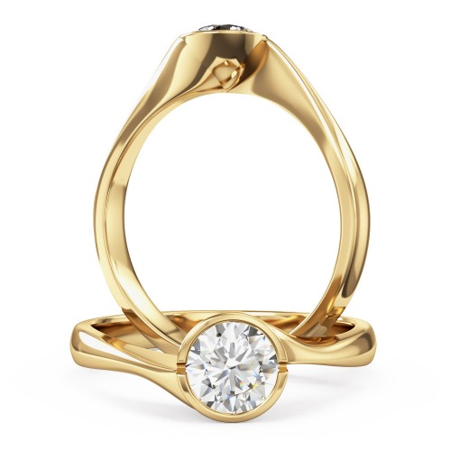 A unique Round Brilliant Cut solitaire diamond ring in 18ct yellow gold