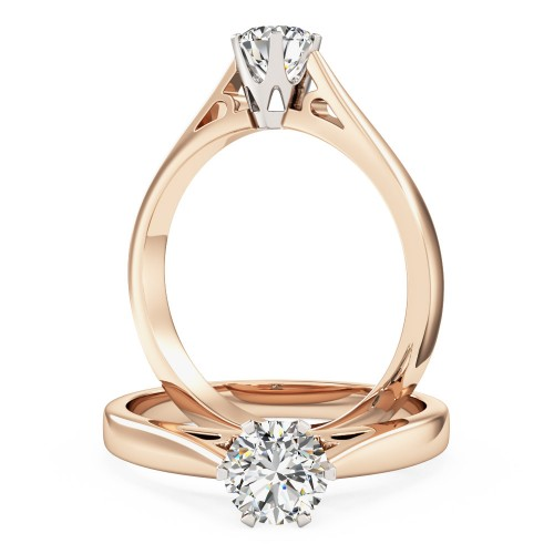 A round brilliant cut solitaire diamond ring in 18ct rose & white gold