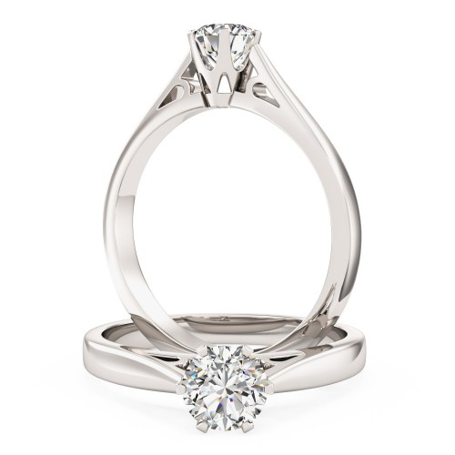 A stunning Round Brilliant Cut solitaire diamond ring in 18ct white gold (In stock)