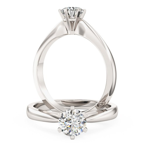 Round cut solitaire diamond ring in 18ct white gold PD112W