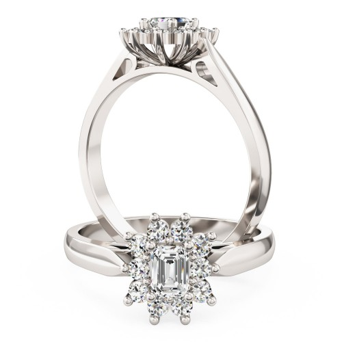 An elegant Emerald Cut diamond cluster ring in 18ct white gold