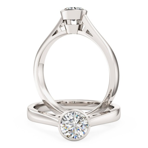 A stylish Round Brilliant Cut solitaire diamond ring in platinum