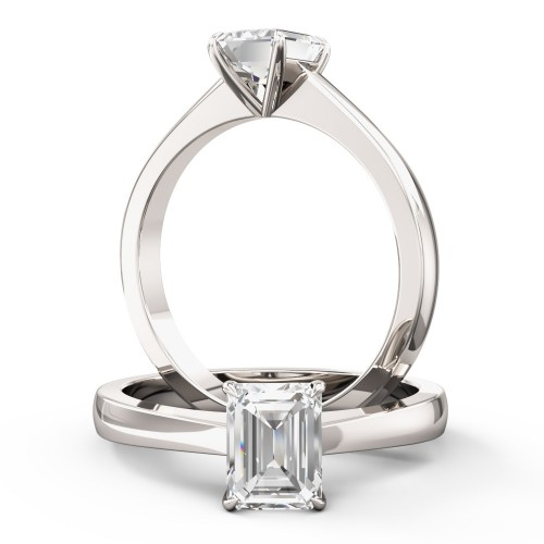 An elegant Emerald Cut solitaire diamond ring in platinum (In stock)
