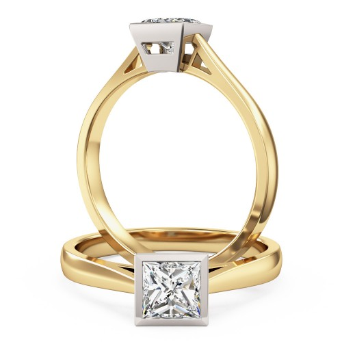 An eye catching Princess Cut solitaire diamond ring in 18ct yellow & white gold