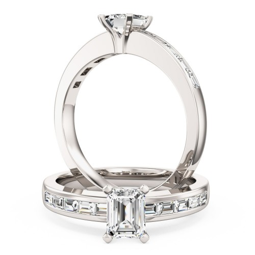 An elegant Emerald Cut diamond ring with shoulders stones in 18ct white gold