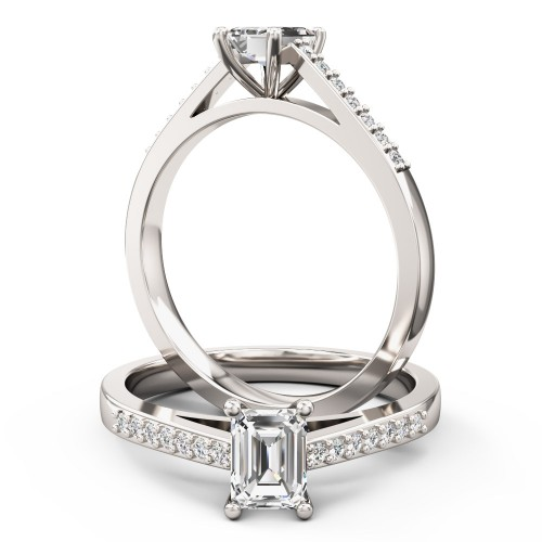 A sleek Emerald Cut diamond ring with shoulder stones in platinum