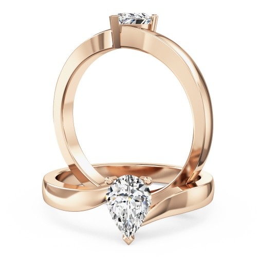 A stunning pear shaped twist diamond ring in 18ct rose gold