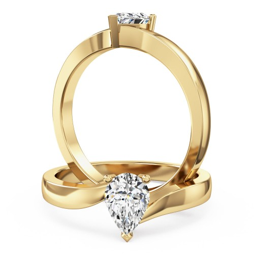 A stunning pear shaped twist diamond ring in 18ct yellow gold
