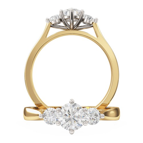 A sparkling Round Brilliant Cut three stone diamond ring in 18ct yellow & white gold
