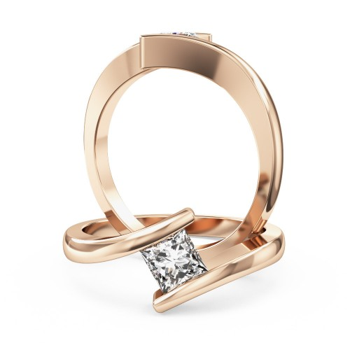 A delightful princess cut solitaire diamond ring in 18ct rose gold