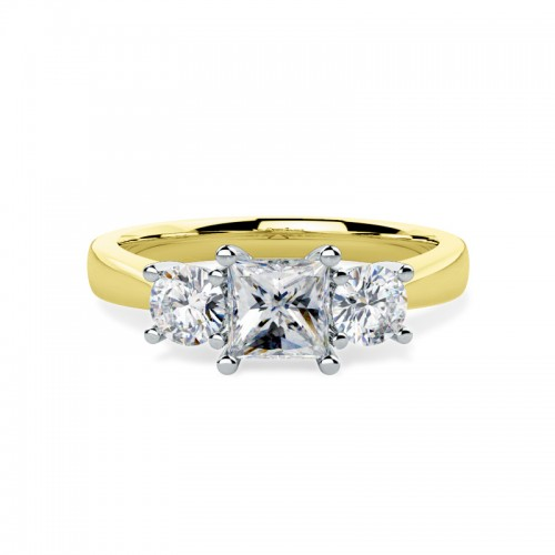 A striking Princess & Round Brilliant Cut three stone diamond ring in 18ct yellow & white gold